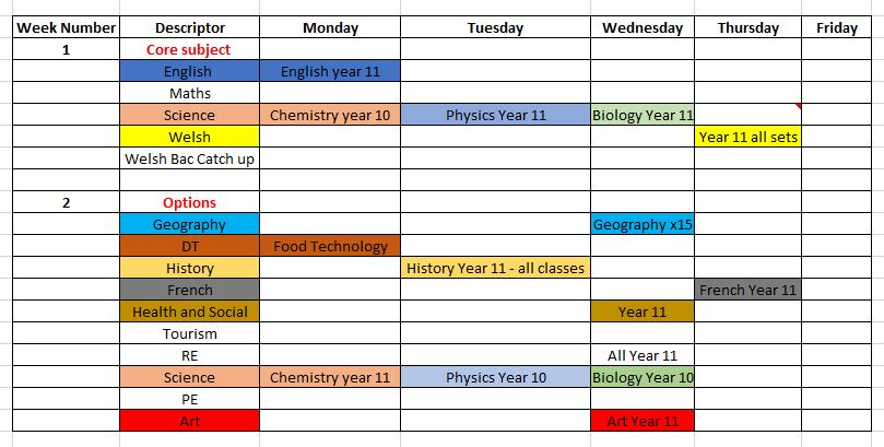 Incredible Yr 10 11 Revision Timetable March 2019 Cefn Saeson Complete Home Design Collection Epsylindsey Bellcom
